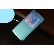 Varten Samsung Galaxy kotelo Ikkunalla / AutomAutomaattinen auki/kiinni / Flip Etui Kokonaan peittävä Etui Yksivärinen Tekonahka Samsung