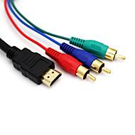 5 футов 1,5 1080p HDMI мужчина до 3 RCA AV аудио-видео кабель адаптера для HDTV DVD