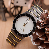 Couple's Round Dial Case Leather Watch Brand Fashion Quartz Watch(Random Color)