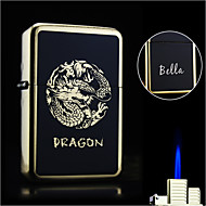 Personlig gave - Butan Lighter - Metall - Enkel Flamme - Boutique - Svart