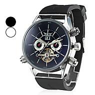 Svart automekanisk analogt Tourbillon-armbåndsur med silikonrem (assorterte farger)