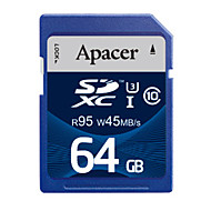 Apacer 64GB Clase 10 / UHS-I U3 SD/SDHC/SDXCMax Read Speed95 (MB/S)Max Write Speed45 (MB/S)