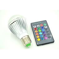 חלק 1 E26/E27 3 W 3 לד בכוח גבוה 180-220 LM RGB עובד עם שלט רחוק נורות גלוב AC 85-265 V