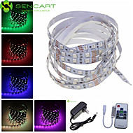 5M 300x5050 SMD RGB 72W Light LED Strip Lamp + 10-Key RF Controller + US Power Supply Adapter AC100-240V