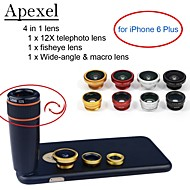 Apexel 4 in 1 Lens Kit 12X Black Telephoto Lens+Fisheye Lens+Wide-angle+Macro Camera Lens with Case for iPhone 6 Plus