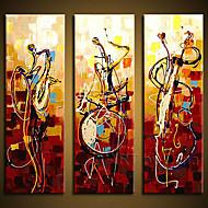 handgeschilderde kunst aan de muur abstrac home decor play instrumenten olieverf op doek 3pcs / set zonder frame