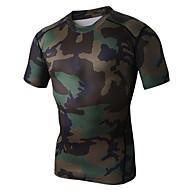 T-skjorte ( تمويه ) - للجنسين - متنفس/سريع جاف/wicking/ضغط - أخضر كم قصير الربيع/الصيف عالية المرونة