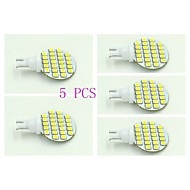 5 pcs T10 2.5 W 24 X SMD 3528 100-120 LM  Natural White  Interior Lights DC 12 V