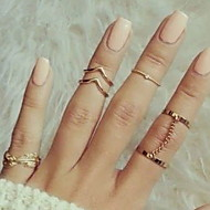 Midi Rings Alloy Leaf Fashion Gold Silver Jewelry Party 1set
