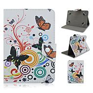 7インチと8インチのユニバーサルタブレット用スタンドケースと蝶のパターン高品質PUレザー