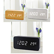 wit licht usb dual-screen rechthoekige houten leiding klok w / wekker / temperatuur / voice-sensor