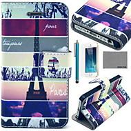 Coco fun® Eiffel-torni kartta kuvio PU nahka tapauksessa näytön suojakalvon ja usb-kaapeli ja Stylus iPhone 5 / 5s