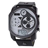 V6 Muškarci Ručni satovi s mehanizmom za navijanje Kvarc Japanski kvarc LCD Kalendar Sat s tri vremenske zone Sportski sat Koža Grupa Crna