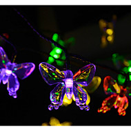 20-LED 4.8M  Solar Energy Bownot Hanging Lamps2A Battery  Christmas Holiday Wedding Decoration
