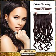 5 클립 숙녀 더 많은 색상을 사용할 수를위한 머리 연장에 어두운 적갈색 (# 33) 합성 머리 클립을 물결