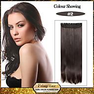 숙녀를위한 머리 연장에서 5 클립 긴 직선 어두운 갈색 합성 머리 클립