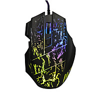 3200DPI Adjustable 7-Button Running River Pattern Optical USB Wired Woven Nylon Line Gaming Mouse - Black