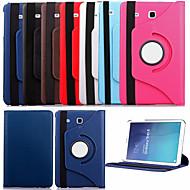 Para Samsung Galaxy Capinhas Com Suporte / Flip / Rotação 360° Capinha Corpo Inteiro Capinha Cor Única Couro PU Samsung Tab E 9.6