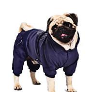 개 코트 / 후드 / 점프 수트 블루 / 퍼플 / 블랙 / 핑크 강아지 의류 겨울 / 모든계절/가을 하트 캐쥬얼/데일리 / 따뜻함 유지