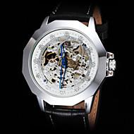 FORSINING Hombre Reloj de Pulsera El reloj mecánico Cuerda Automática Huecograbado Piel Banda Negro Dorado Blanco Negro