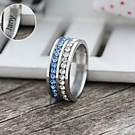 Jóias Personalizadas prata / azul - Anéis - de Aço Inoxidável