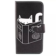 Finger Buckle Kitten Reading Painted PU Phone Case for Galaxy J5