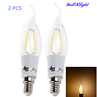 YouOKLight® 2PCS E14 2xCOB 2W 200LM Warm White Edison long tail Candle Bulbs LED Filament/chandelier Light(AC85-265V)