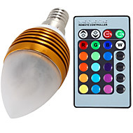 1 pcs E14 5 W 3 Integrate LED 400 LM RGB Dimmable / Remote-Controlled / Decorative Candle Bulbs AC 85-265 V