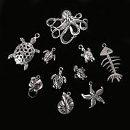 beadia antik sølv metal charm vedhæng søstjerne konkylie skildpadde blæksprutte&manta ray DIY smykker vedhæng