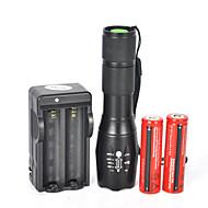 LED taskulamput LED 5 Tila 1800 Lumenia Vedenkestävä / ladattava / Iskunkestävä / Isku viiste / Taktinen / Hätä Cree XM-L T6 18650 / 26650