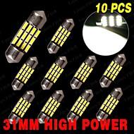 """10 x Pure White High Power 31mm 1.22"""" Festoon Car LED Light 12V DE3175 3022 3021"""