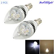 3W E14 Ampoules Bougies LED C35 3 LED Haute Puissance 280 lm Blanc Chaud / Blanc Froid Décorative AC 85-265 V 2 pièces