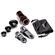 Universal 5 in 1 Case Clip 0.65X Wide Angle & 180°Fish Eye & 8 Times Telescope Lens Set for Cell Phone & Digital Cameras