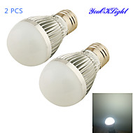YouOKLight® 2PCS E27 5W 500lm 6500K 6-SMD 5730 LED White Light Dimmable Bulb Lamp (220V)