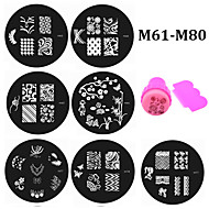 20pcs Nail Art Plates Nail Template Stamper Scraper Set DIY Polish Design Nail Stamp Stamping Manicure Tools M61-M80