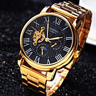 Męskie Zegarek na nadgarstek zegarek mechaniczny Nakręcanie automatyczne Wodoszczelny Grawerowane Stal nierdzewna Pasmo Ekskluzywne Złoty