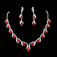 Rubin Modeschmuck Edelstein Diamantimitate Tropfen Ohrringe Halskette Für Hochzeitsgeschenke