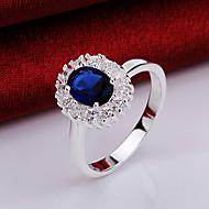 반지 파티 / 일상 보석류 크리스탈 / 지르콘 / 구리 / 은 도금 여성 문자 반지 1PC,8 블루