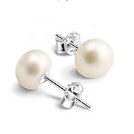 スタッドピアス 真珠 純銀製 人造真珠 銀メッキ ホワイト ジュエリー のために 2 個
