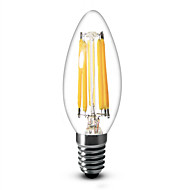 6W E12 Luces LED en Vela C35 6 COB 600 lm Blanco Cálido Regulable AC 110-130 V 1 pieza