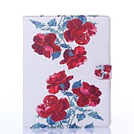 Red Peony Pattern PU Leather Full Body Case with Stand for iPad 2/3/4