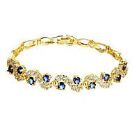 Γυναικεία Βραχιόλια με Αλυσίδα & Κούμπωμα Μοντέρνα Ζιρκονίτης Cubic Zirconia Επιχρυσωμένο Μπλε Διαφανές Κοσμήματα ΓιαΓάμου Πάρτι