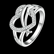 指輪 日常 ジュエリー 銅 / ラインストーン / 銀メッキ 女性 ステートメントリング 1個,8 シルバー