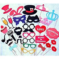 33Pcs/Set Festive & Party Supplies Photo Props Booth Mustache Champagne Wedding Favor