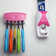 automatisk tandkräm dispenser + tandborsthållare badrum set väggfäste rack bad set