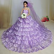Wedding Dresses For Barbie Doll Light Purple Dresses For Girl's Doll Toy