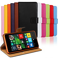For Nokia Case Wallet / Card Holder / with Stand Case Full Body Case Solid Color Hard PU Leather Nokia Nokia Lumia 640