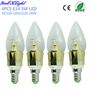 YouOKLight® 4PCS E14 5W 450lm 25 x SMD2835 Warm White High quality cone shape LED Candle Light-Gold(AC110-120V/220-240V)