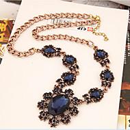 Damskie Oświadczenie Naszyjniki Kryształ Flower Shape Lampka zmieniająca kolory Kamień szlachetny Stop ModnyLight Blue Dark Gray