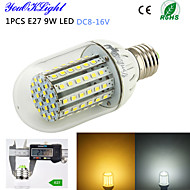 YouOKLight® 1PCS E27 9W 800lm 90-3528SMD High brightness &long life 45,000H LED Light Low voltage dc voltage DC8-16V